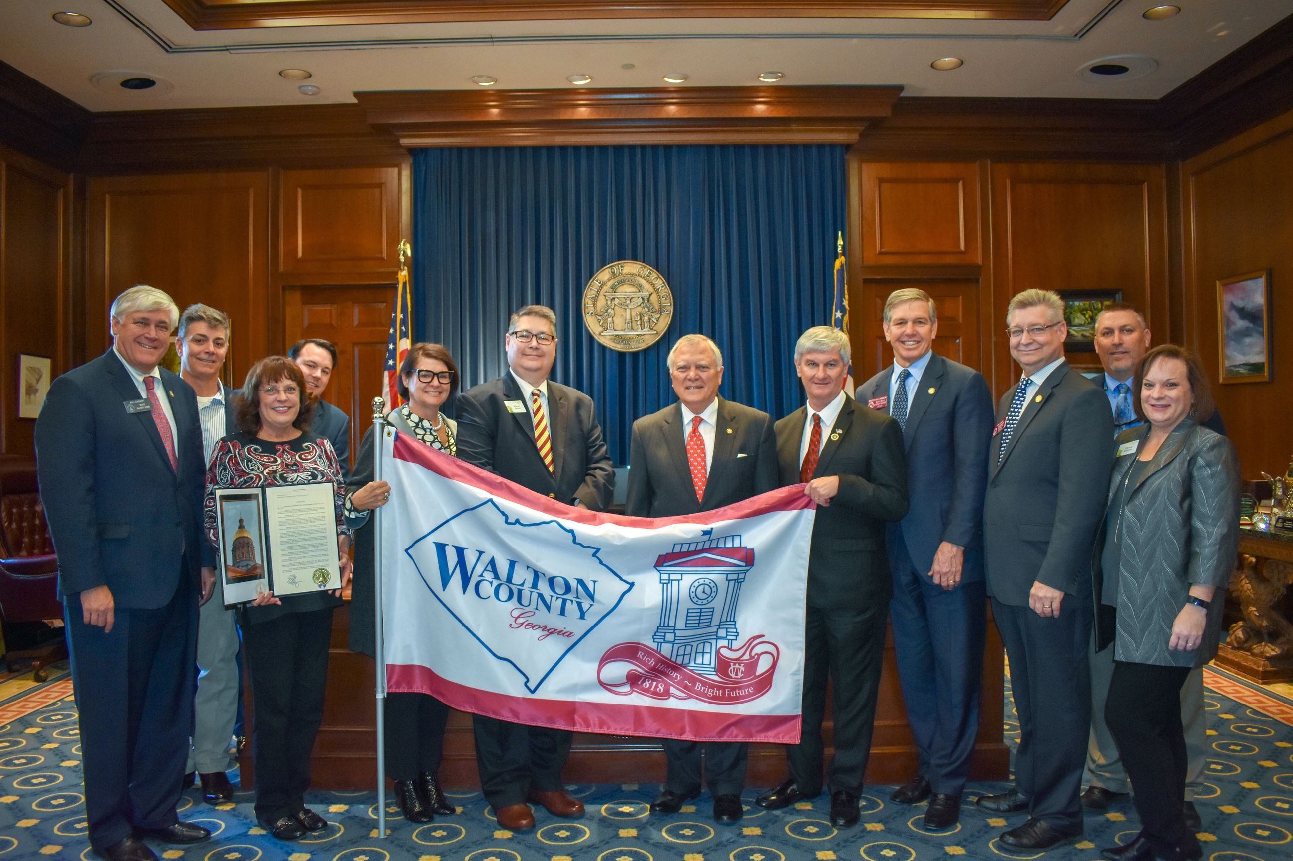 Government officials displaying Walton County Flag