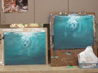 Two paintings of Polar Bears in water